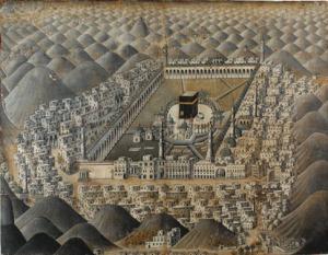 Mekka med Ka'bah. Oljemålning (84,5 x 111,2 cm) hemförd från Främre Orienten av legationsprästen i Konstantinopel Michael Eneman (1676-1714) som slutade sina dagar som professor i orientaliska språk i Uppsala. Hans samlingar inköptes av Uppsala universitetsbibliotek år 1717.